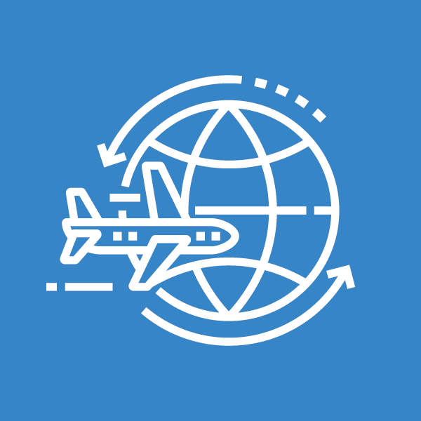 Line icon of plane and globe
